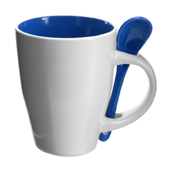Coffee mug with spoon in blue