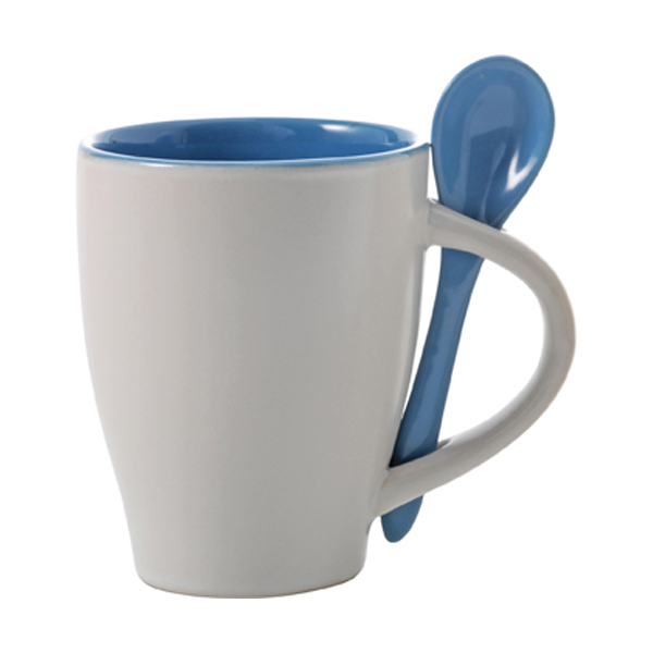 Coffee mug with spoon in light-blue