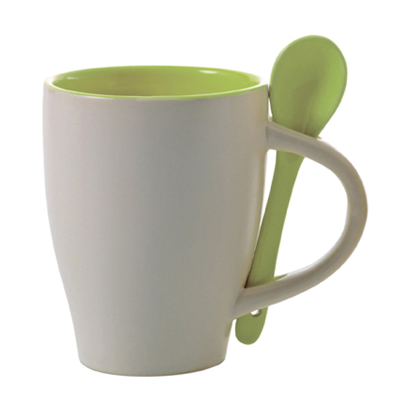Coffee mug with spoon in lime