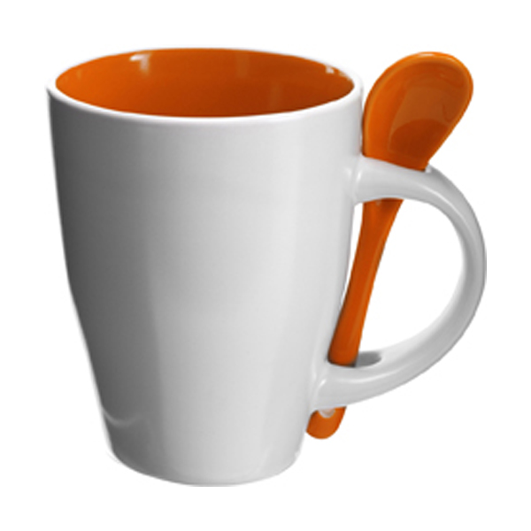 Coffee mug with spoon in orange