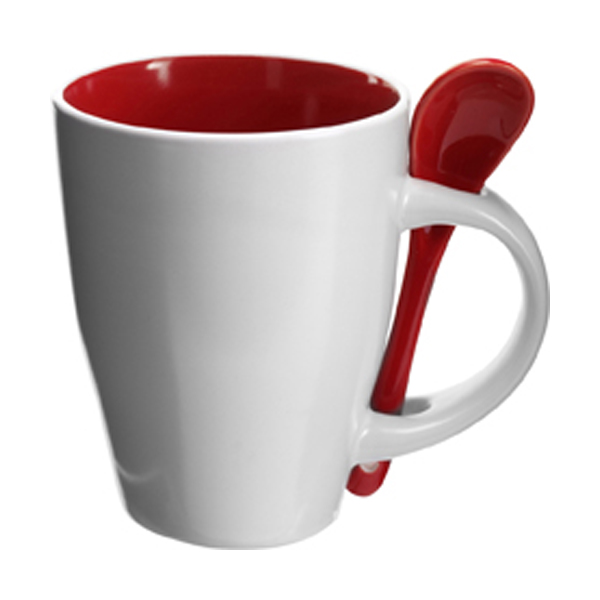 Coffee mug with spoon in red