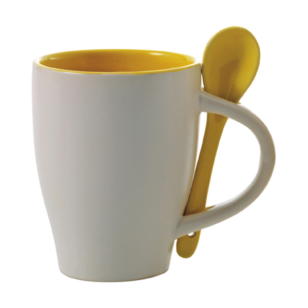 Coffee mug with spoon in yellow