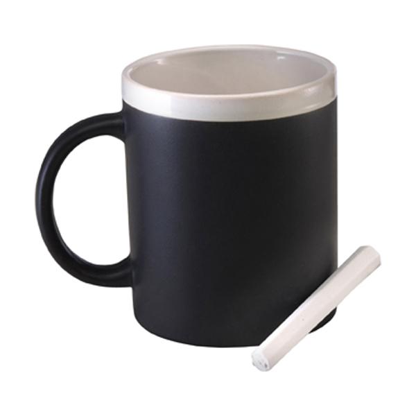 Ceramic mug with chalk in white