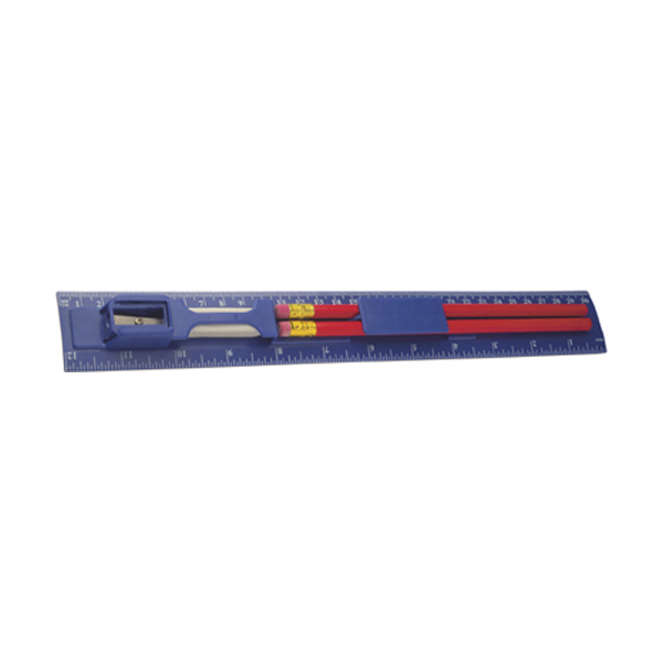 30cm Plastic ruler with two pencils. in blue