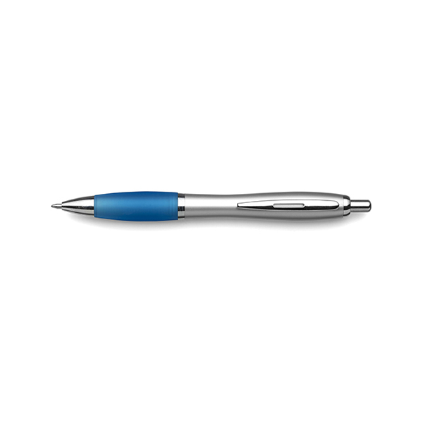 Cardiff ballpen with silver barrel. in light-blue