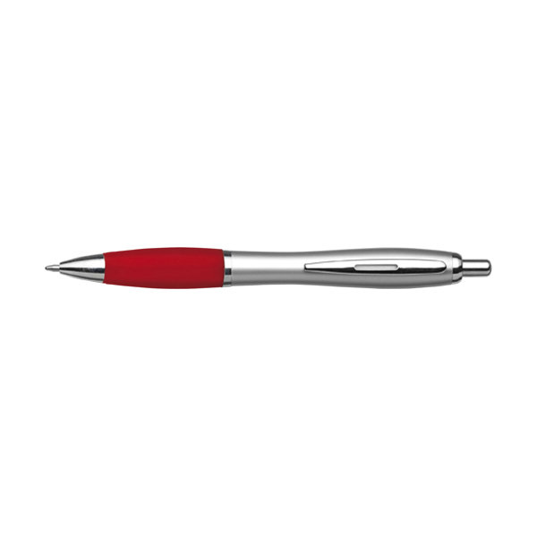 Cardiff ballpen with silver barrel. in red