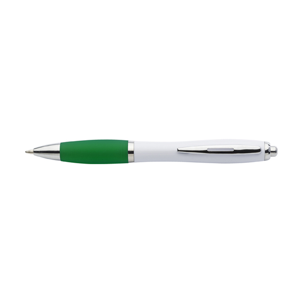 Cardiff ballpen with white barrel. in green