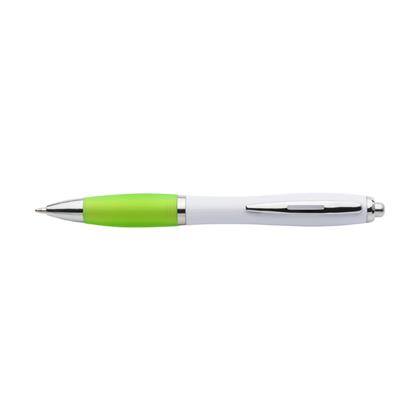 Cardiff ballpen with white barrel. in lime