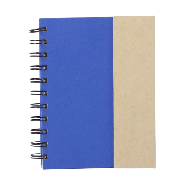 Wire bound notebook. in cobalt-blue