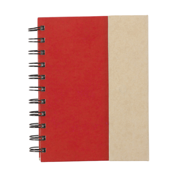 Wire bound notebook. in red