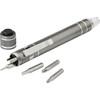 Pen shaped pocket screwdriver. in grey