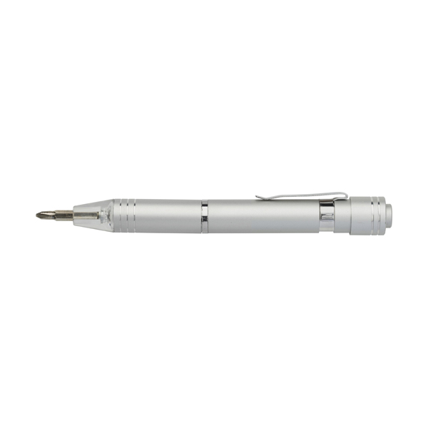 Pen shaped pocket screwdriver. in silver