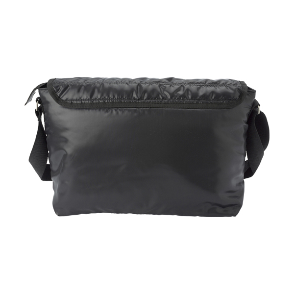 Polyester 240D messenger bag. in black