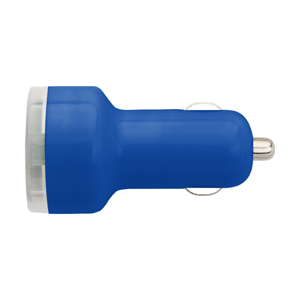Plastic car power adapter. in cobalt-blue
