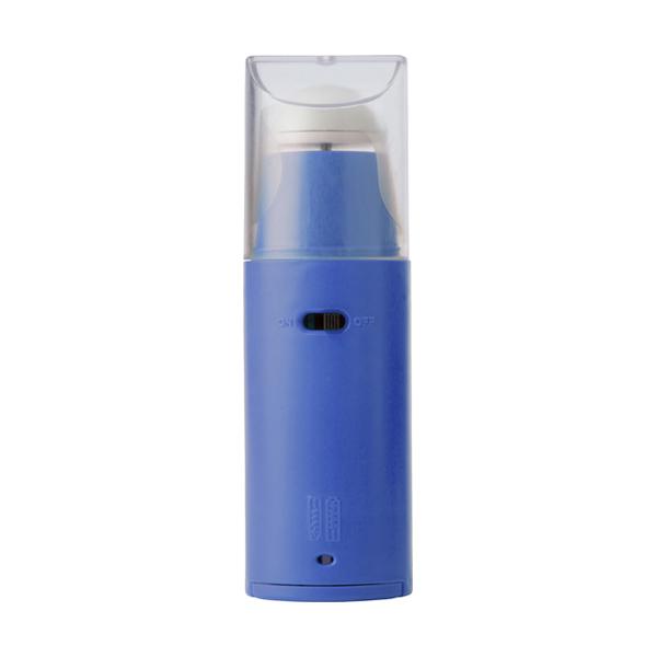 Plastic portable electronic fan. in cobalt-blue