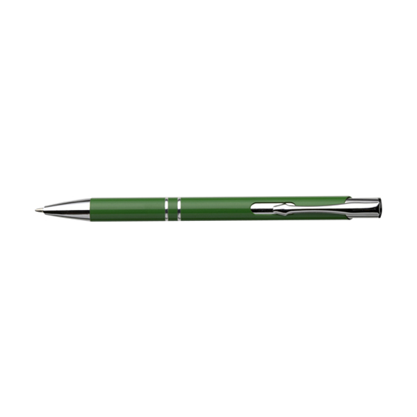 Ballpen with blue ink. in light-green
