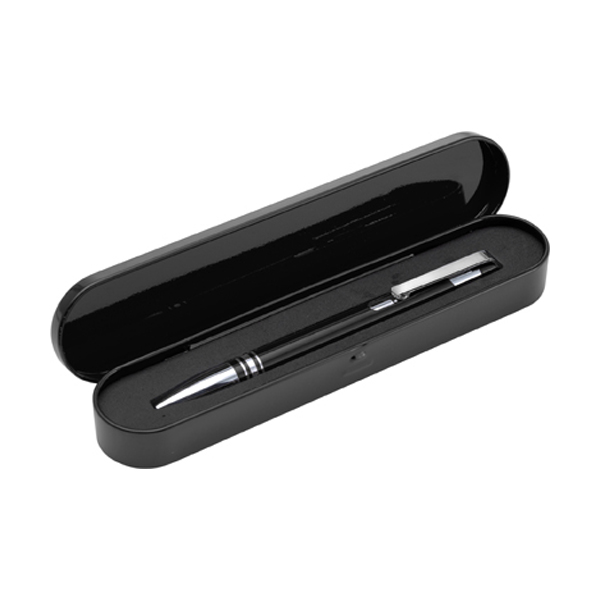 Ballpen with black ink. in black