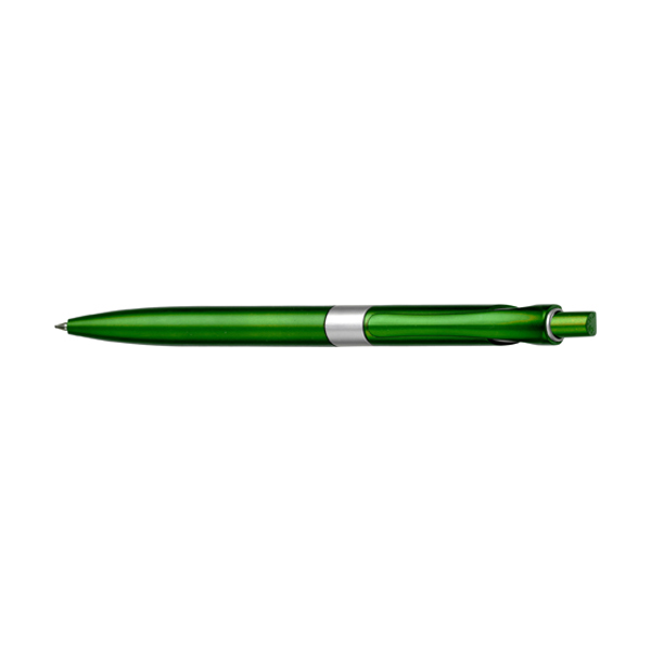 Plastic retractable ballpen with blue ink in light-green