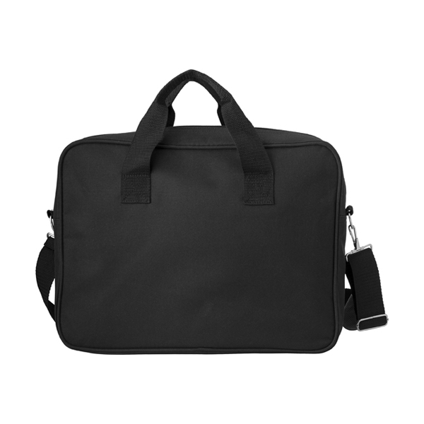 Polyester laptop bag. in black