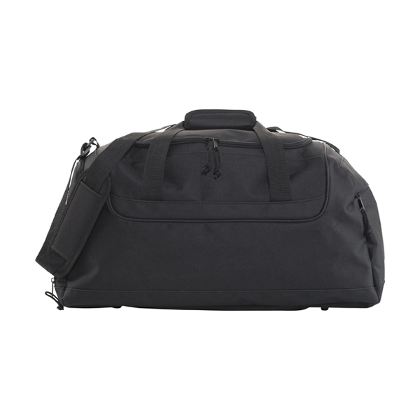 Polyester 600D travel bag. in black