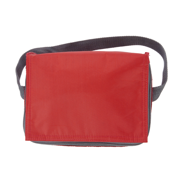 Six can polyester cooler bag. in red