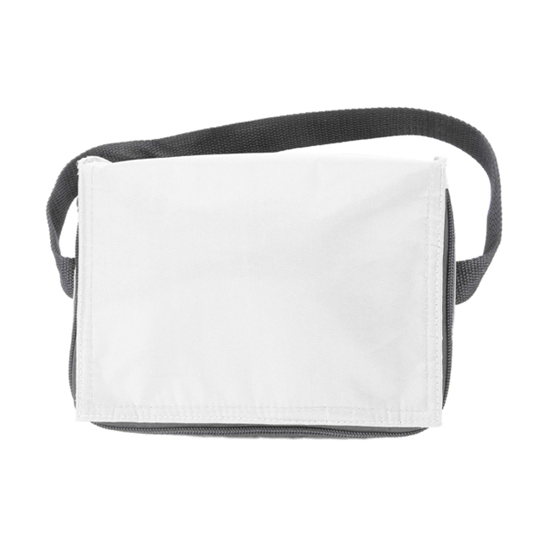 Six can polyester cooler bag. in white