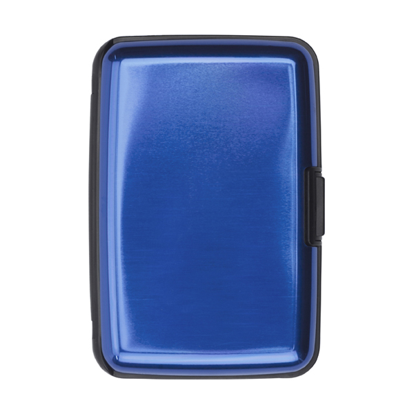 Aluminium and plastic credit/business card case in cobalt-blue