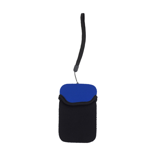 Neoprene mobile phone pouch with wrist strap. in blue
