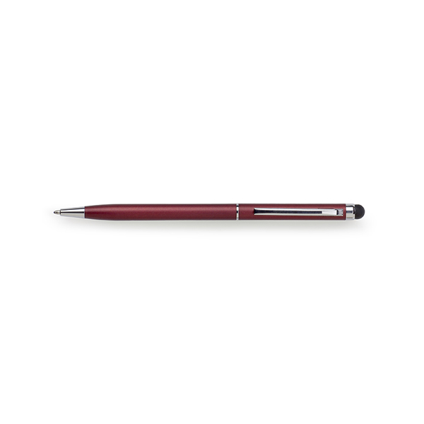 Metal ballpen with rubber tip. in red