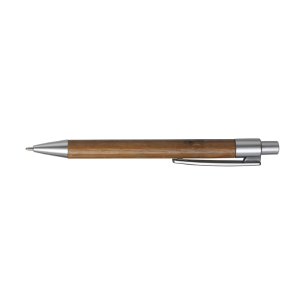 Ballpen with bamboo barrel in silver