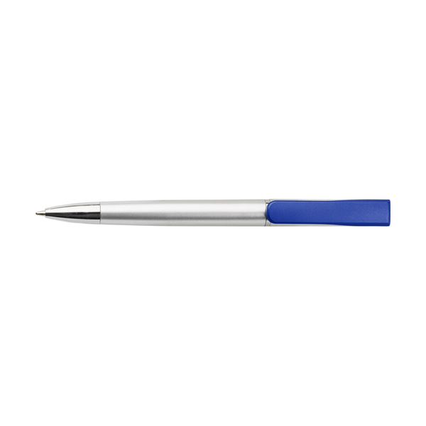 Plastic ballpen with coloured clip. in cobalt-blue
