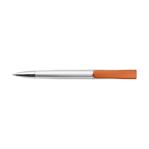 Plastic ballpen with coloured clip. in orange