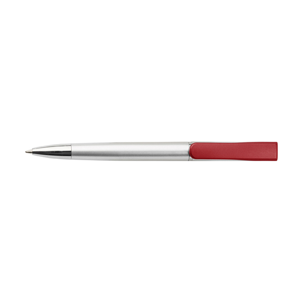 Plastic ballpen with coloured clip. in red