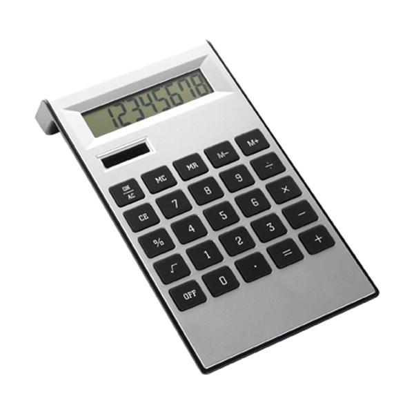 Desk calculator in black-and-silver