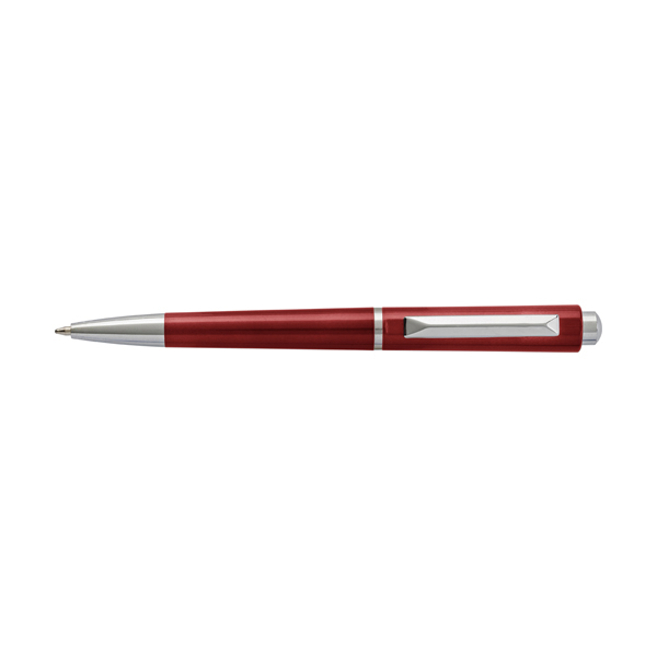 Plastic ballpen with black ink. in red