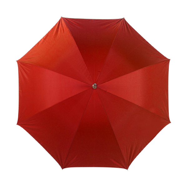 Umbrella with silver underside in red-and-silver