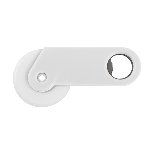 Plastic pizza cutter and bottle opener. in white