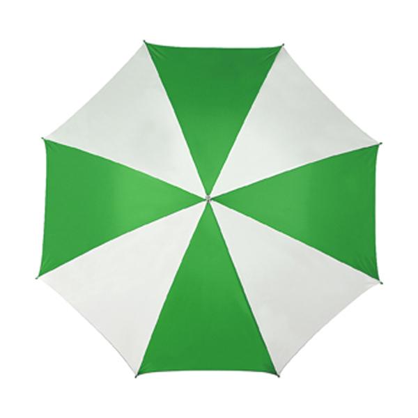 Golf umbrella in green-and-white
