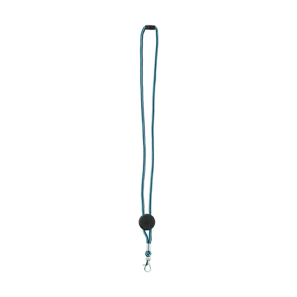 Nylon lanyard carabiner clip. in light-blue