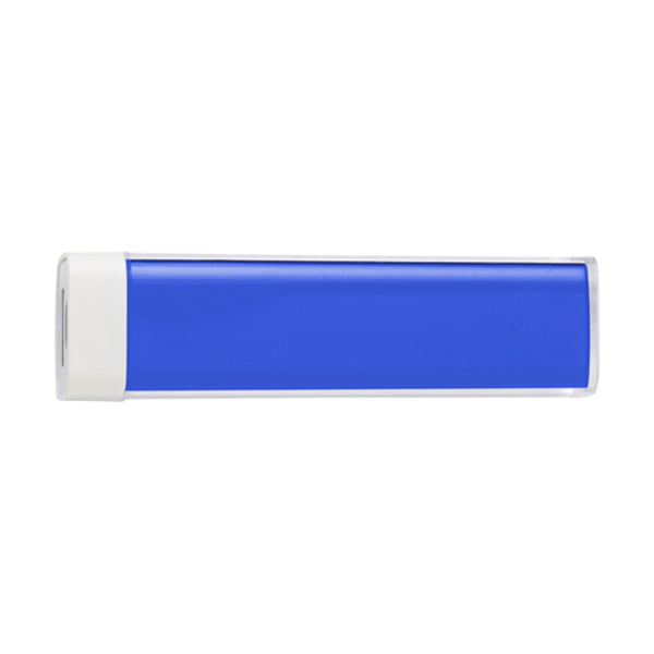 Plastic power bank. in cobalt-blue