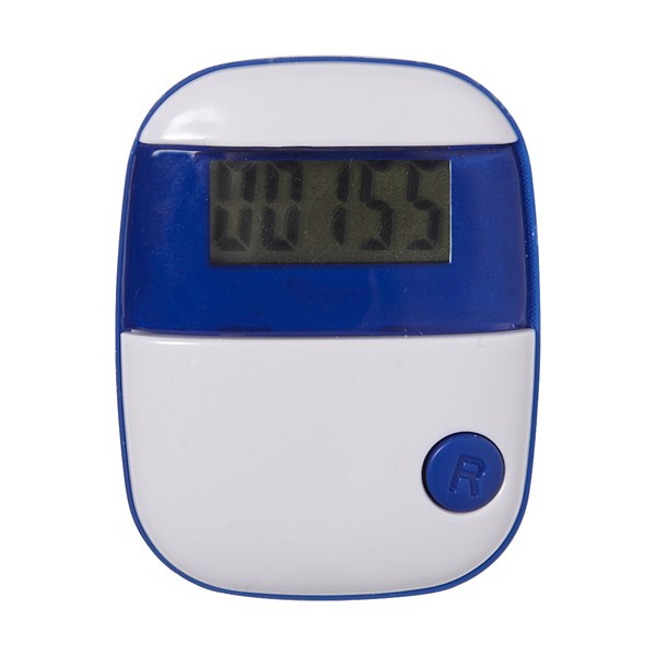 Plastic pedometer with step counter and belt clip. in royal-blueb
