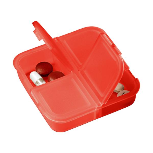 Plastic pill box in red