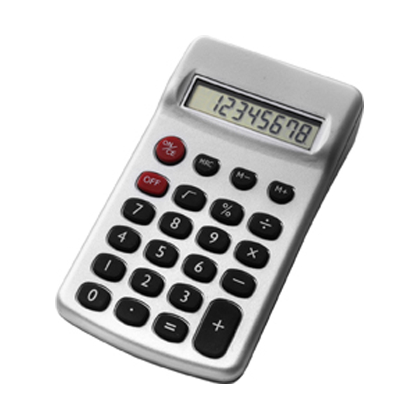 Plastic calculator in silver