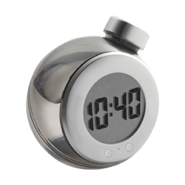 LCD water powered desk clock in black-and-silver