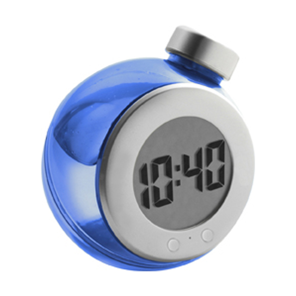 LCD water powered desk clock in blue-and-silver