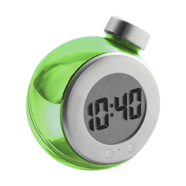 LCD water powered desk clock in green-and-silver