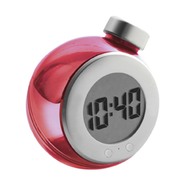 LCD water powered desk clock in red-and-silver