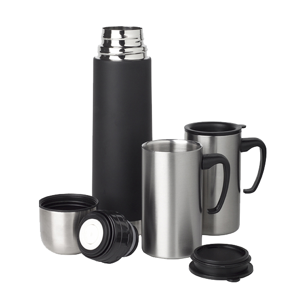Stainless steel thermos set in neutral