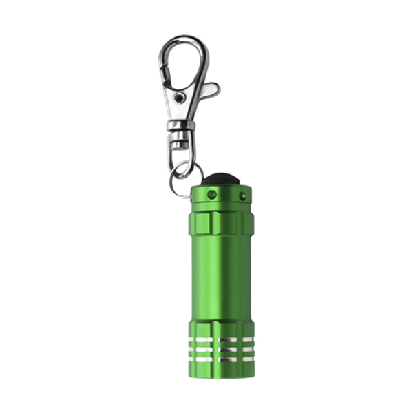 Small metal pocket torch in light-green