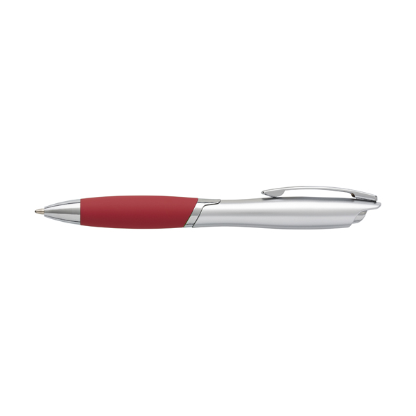 ABS ballpen with metal clip and rubber grip, blue ink.  in red